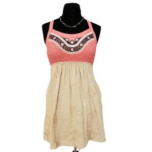 Theme Smocked Coral and Beige Dress Racerback